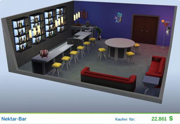 Die Sims 4 Karriere Leckermaul, Berufszweig Mixer: Gestaltetes Zimmer Nektar-Bar