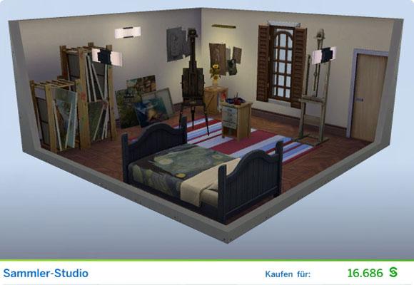 Die Sims 4 Karriere Maler, Berufszweig Kunstmäzen: Gestaltetes Zimmer Sammler-Studio