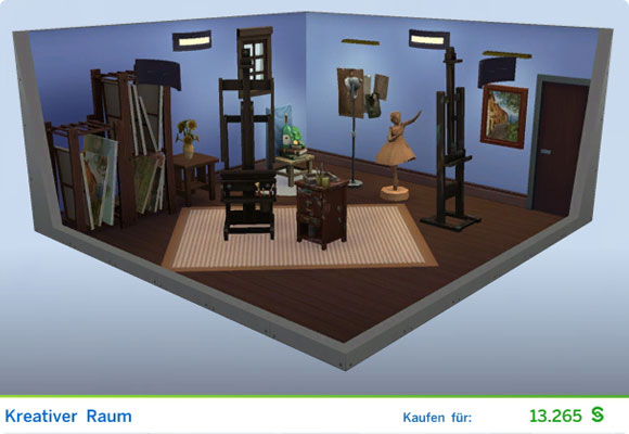Die Sims 4 Karriere Maler, Berufszweig Meister des Realen: Gestaltetes Zimmer Kreativer Raum