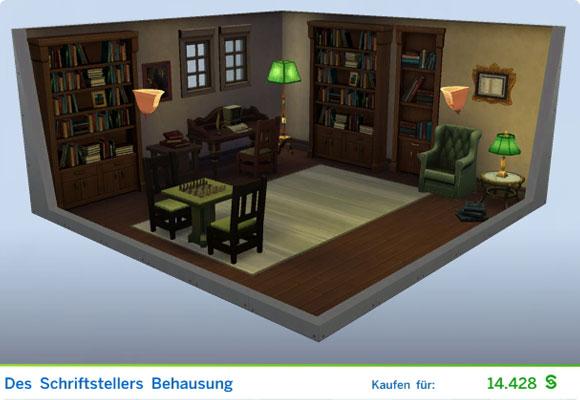 Die Sims 4 Karriere Schriftsteller, Berufszweig Autor: Gestaltetes Zimmer Des Schriftstellers Behausung