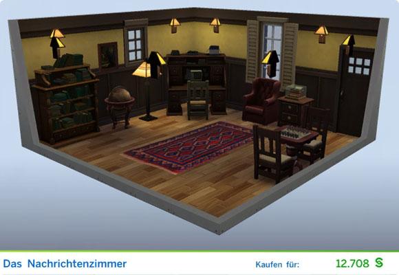 Die Sims 4 Karriere Schriftsteller, Berufszweig Journalist: Gestaltetes Zimmer Das Nachrichtenzimmer