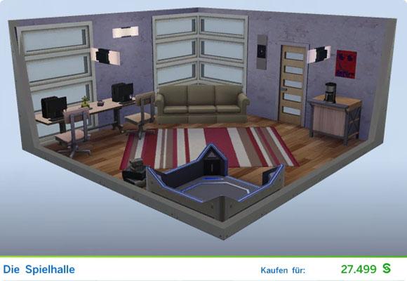 Die Sims 4 Karriere Technikguru, Berufszweig eSportler: Gestaltetes Zimmer Die Spielhalle