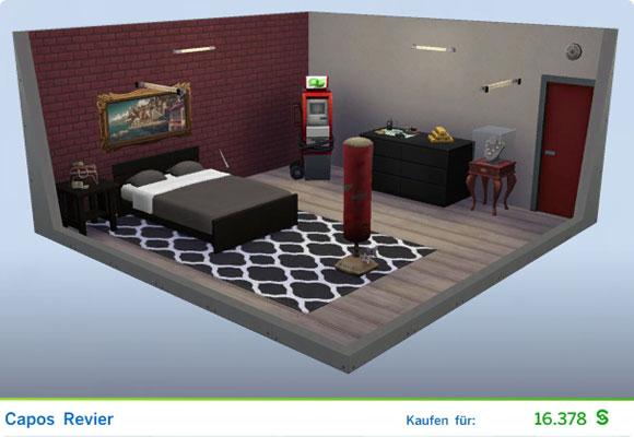 Die Sims 4 Karriere Verbrecher, Berufszweig Boss: Gestaltetes Zimmer Capos Revier
