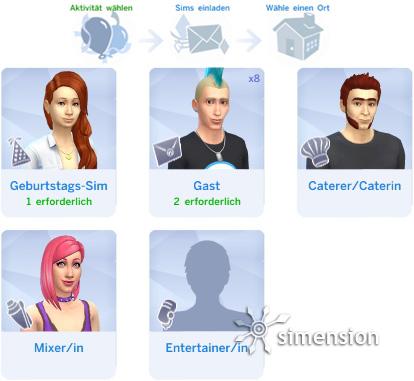 Sims 4 Partys und Gesellschaftliche Ereignisse planen: Partypersonal aus eigenem Haushalt besetzen