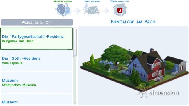 Sims 4 Partys und Gesellschaftliche Ereignisse planen: Ort wählen