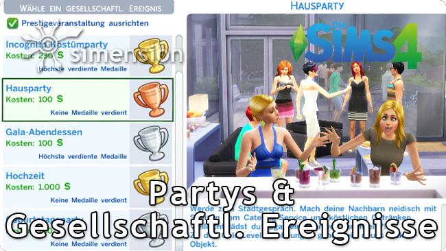 Die Sims 4 Partys und Gesellschaftliche Ereignisse