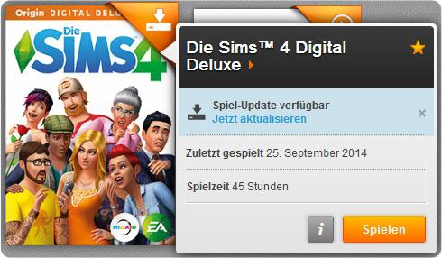 Sims 4 Patches und Updates mit Anzeige eines verfügbaren Spieleupdates