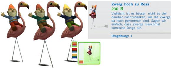 Die Sims 5 Patchinhalt Zwerg Hoch zu Ross in drei Farbvarianten