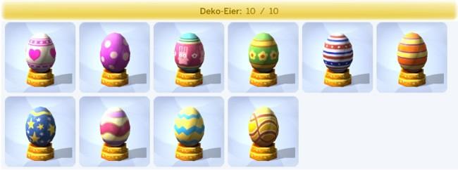vollständige Sammlung Deko-Eier