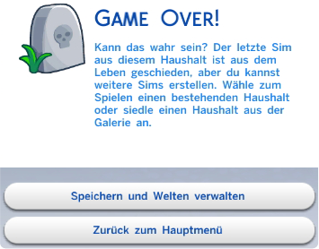 Die Sims 4 Game Over!