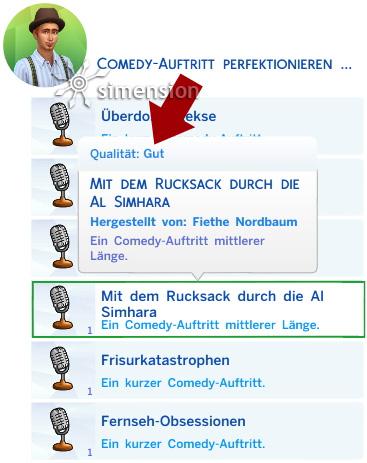 Sims 4 Fähigkeit Comedy: Auftritte perfektionieren mit Anzeige der Qualität