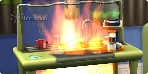 Labortisch für Die Sims 4 Kinderfähigkeit Mental mit Feuergefahr