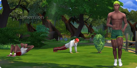 Sims 4 Fähigkeit Fitness mit Rumpfbeugen, Liegestützen und Joggen