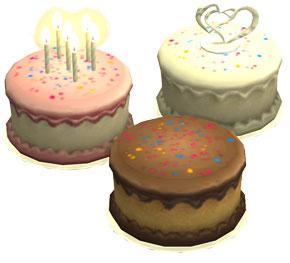 Kuchen, Geburtstagskuchen und Hochzeitstorte