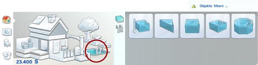 Pools-Tool im Bau-Modus von Die Sims 4