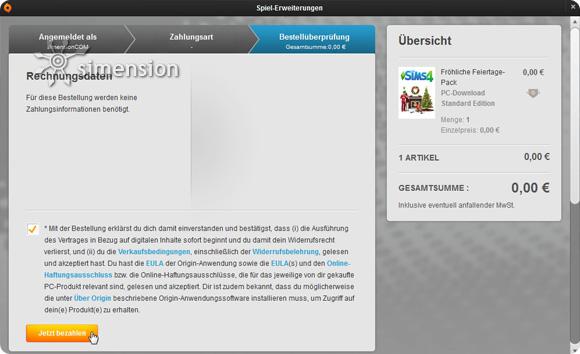 """Sims 4 Fröhliche Feiertage Pack """"bezahlen"""""""
