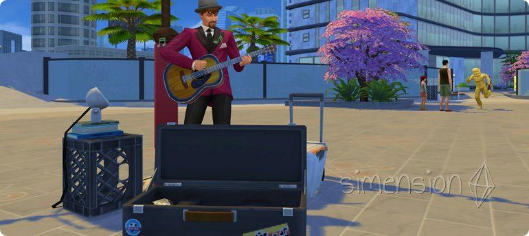 Mit der Fähigkeit Gitarre auf Bühnen für Straßenkünstler auftreten