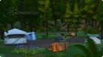 mit Zelten und Campingmöbeln bebauter Campingplatzbebauter