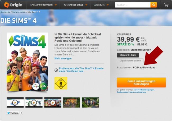 Die Sims 4 für Mac