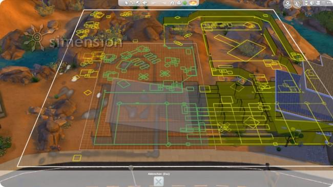 große Grundstücke auf kleinen Bauplätzen platzieren in Die Sims 4