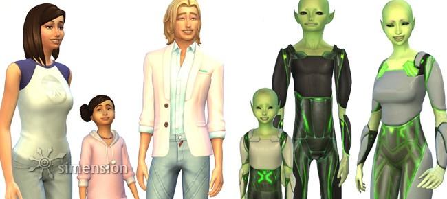 Sims 4 Aliens mit und ohne Tarnung
