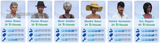 Angestelle aus den Sims zum Einstellen auswählen