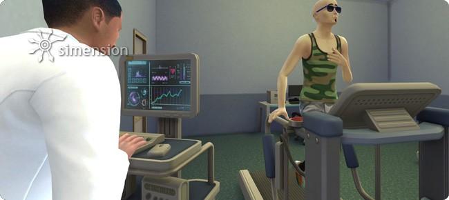 Arzt bei der Laufband-Untersuchung