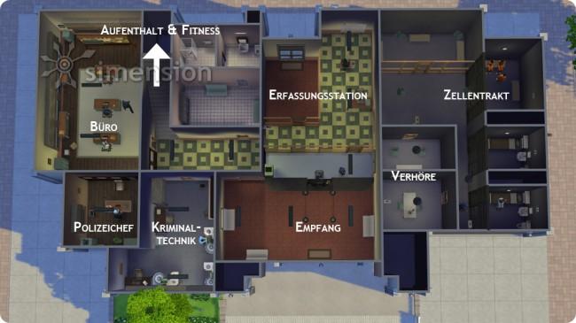 Sims 4 Grundriss des Polizeireviers
