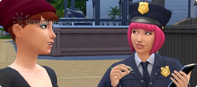Sims 4 Polizist bei der Zeugenbefragung