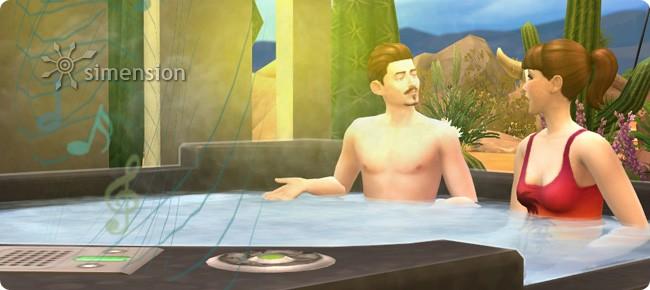 Die Sims 4 Sonnenterrassen-Accessoires mit Whirlpool