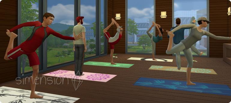 Die Sims 4 Fähigkeit Wellness mit Teilname am Yoga-Kurs