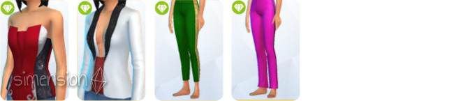 Sims 4 Luxus-Party-Accessoires mit 2 Oberteilen und 2 Unterteilen für Frauen