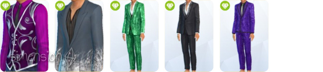 Sims 4 Luxus-Party-Accessoires mit 2 Oberteilen und 3 Kombinationen für Männer
