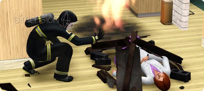 Feierwehrmann rettet Sims nach einem Erdbeben