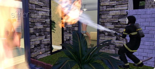 Feuerwehr-Sim beim Löschen eines großen Gebäudebrands