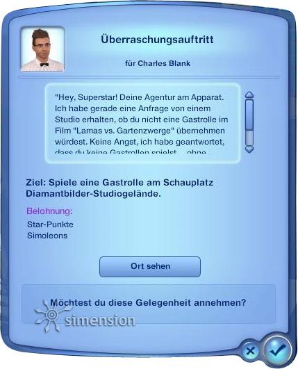 Gelegenheiten für Stars in Die Sims 3