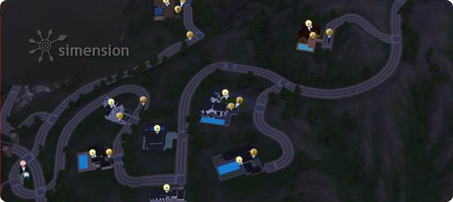 Sims 3 Lebenszeitbelohnunge Karte zu den Stars zeigt den Standort der Stars an