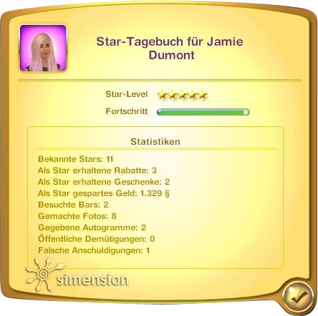 Die Sims 3 Star-Tagebuch