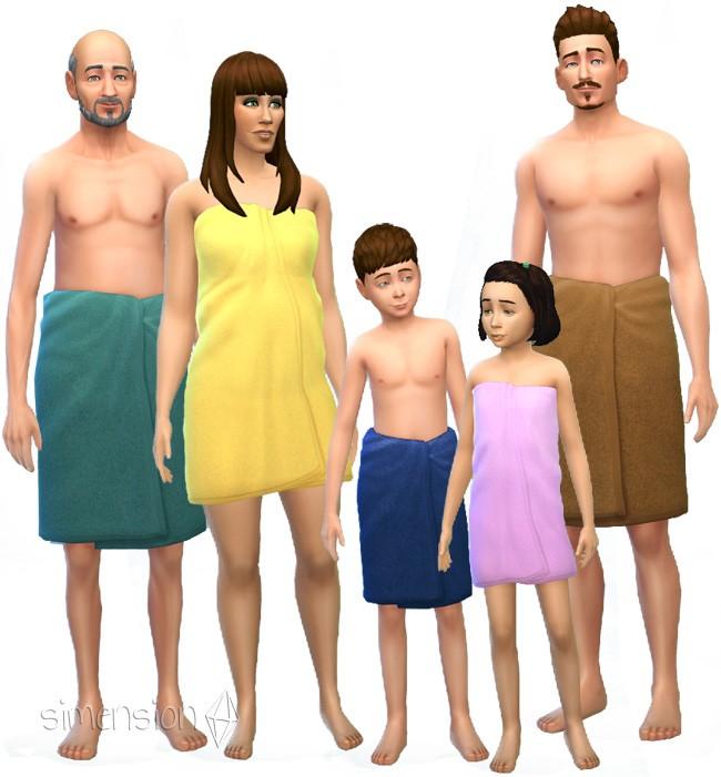 Erstelle einen Sim: Badetücher für alle Altersklassen und Geschlechter