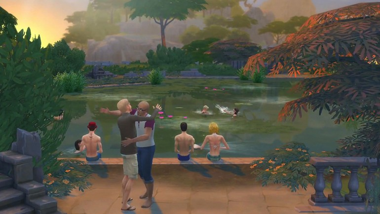 Die Sims 4 Zeit für Freunde mit neuen Grundstücksarten und der Möglichkeit in Pools mit dem Aussehen eines Sees zu schwimmen