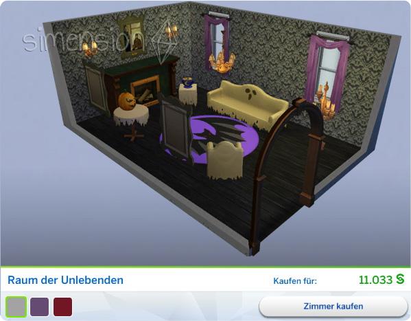 Die Sims 4 Grusel-Accessoires mit gestaltetem Raum der Unlebenden