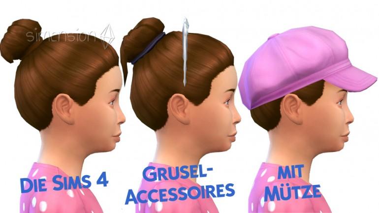 Frisur aus Grusel-Accessoires ist umgeformte Grundspiel-Frisur