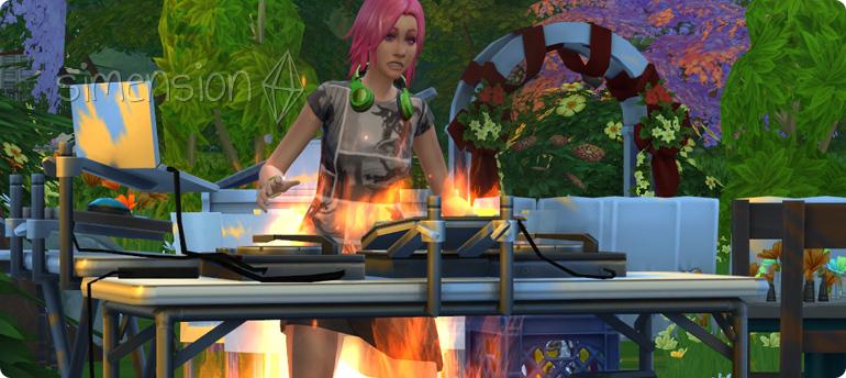 Lebensgefahr bei der Die SIms 4 Fähigkeit DJ-Mixen durch Feuer