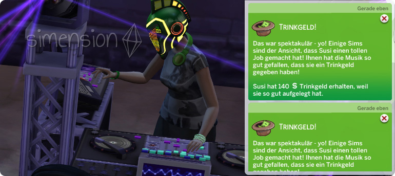 Die Sims 4 Fähigkeit DJ-Mixen mit der Option auf Trinkgeld