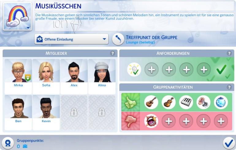 Die Sims 4 Zeit für Freunde mit der Erstellung einer eigenen Gruppe