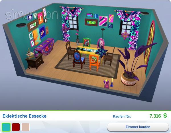 Gestaltetes Zimmer Eklektische Essecke in Die Sims 4 Heimkino-Accessoires