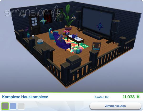 Gestaltetes Zimmer Komplexe Hauskomplexe in Die Sims 4 Heimkino-Accessoires