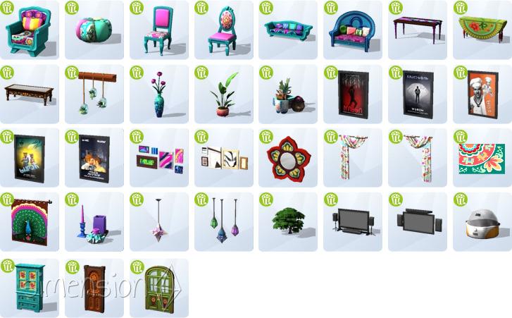 Die Sims 4 Heimkino-Accessoires mit neuen Möbeln und Dekorationen im Boho-Urban-Stil