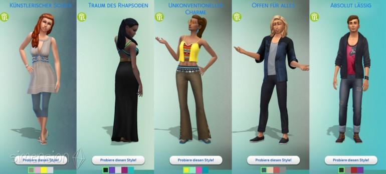 fünf vorgefertigte Looks in Die Sims 4 Heimkino-Accessoires