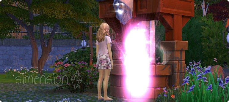 Kind wünschen am Die Sims 4 Wunschbrunnen